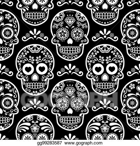 Dia de los muertos clipart black and grey picture download Drawing - Mexican sugar skull vector seamless pattern on black ... picture download