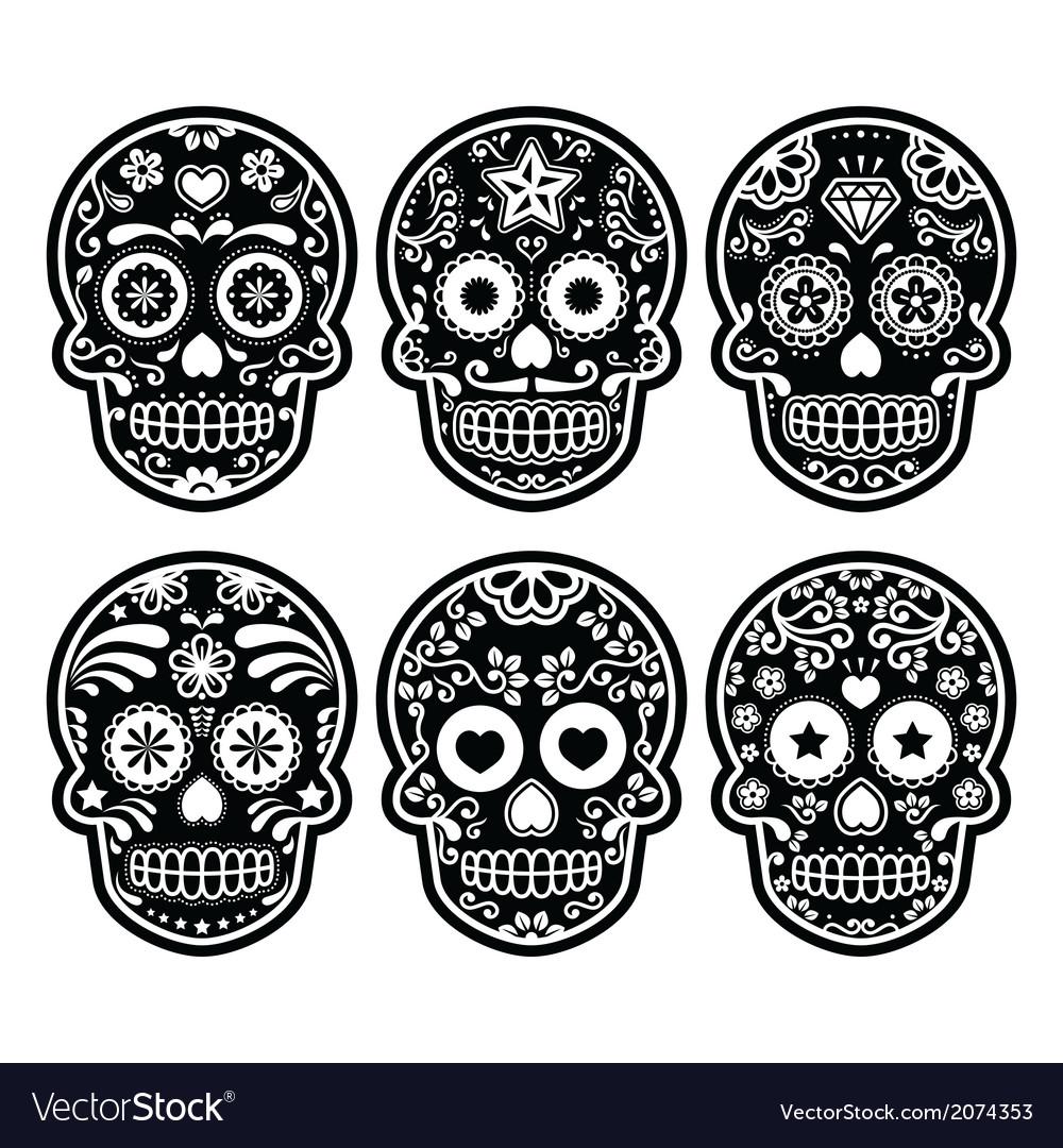 Dia de los muertos clipart black and grey freeuse Mexican sugar skull Dia de los Muertos black icon freeuse