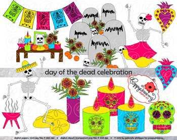 Dia de los muertos clipart free svg black and white library Day of the Dead Celebration (Dia de los Muertos) Clipart by Poppydreamz svg black and white library