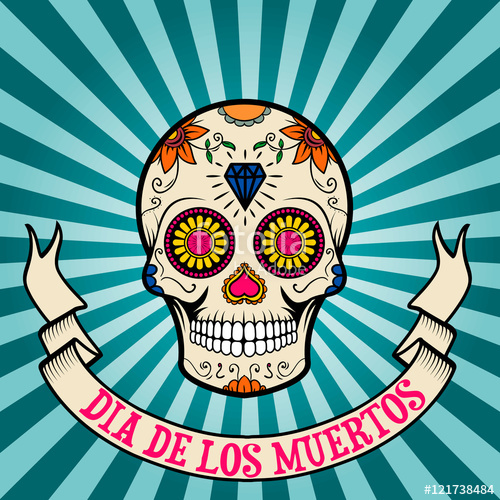 Dia de los muertos clipart free png black and white library day of the dead. dia de los muertos. Sugar skull on vintage bac ... png black and white library