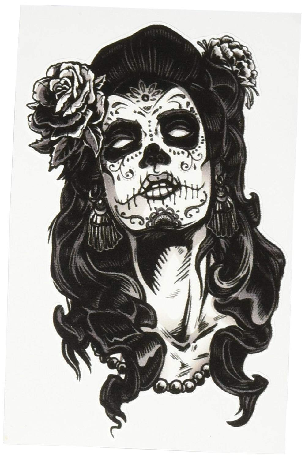 Dia de los muertos girly skull clipart black and white library DIA DE LOS MUERTOS WOMAN WITH SKULL AND ROSE BLACK WHITE Vinyl Decal  Sticker Two in One Pack (4 Inches Tall) black and white library