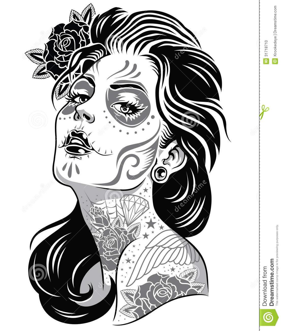Dia de los muertos girly skull clipart banner library download Dia de los muertos clipart female - 90 transparent clip arts, images ... banner library download