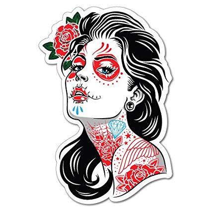 Dia de los muertos girly skull clipart graphic download Sugar Skull Tattoo Lady Girl Sticker Tattoo Art Sailor graphic download