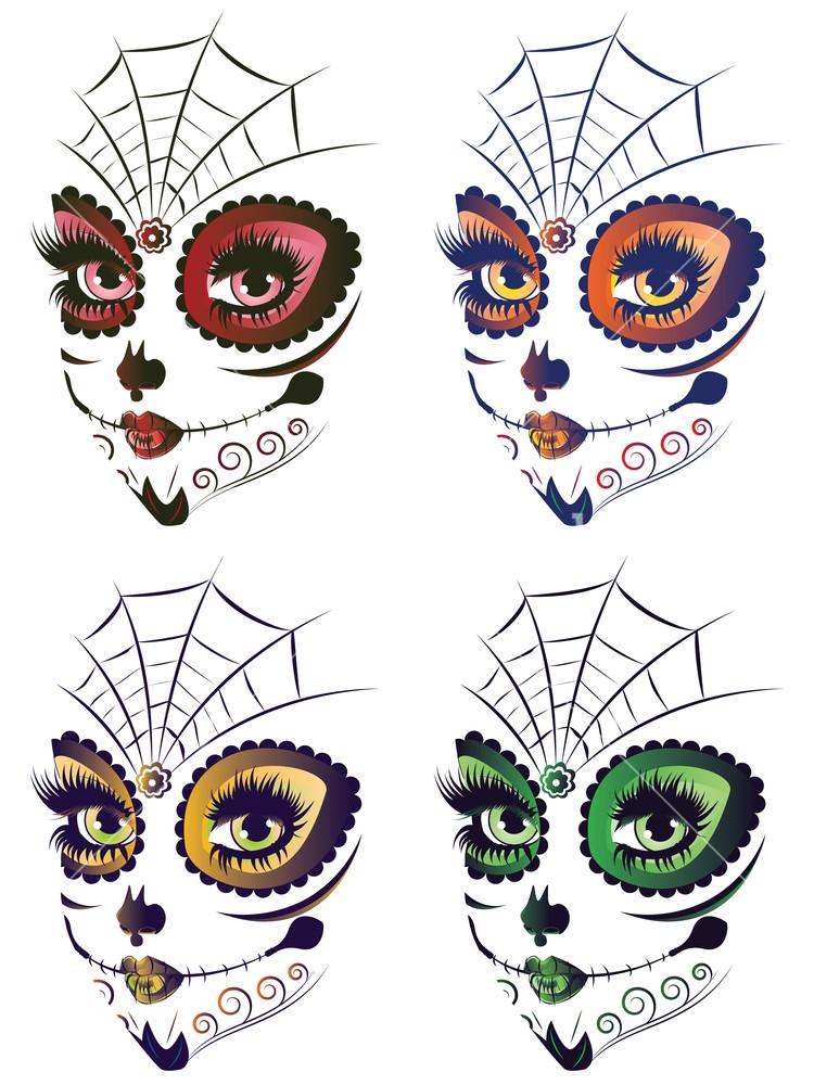 Dia de los muertos girly skull clipart image royalty free Sugar skull girl face with make up for Day of the Dead (Dia de los ... image royalty free