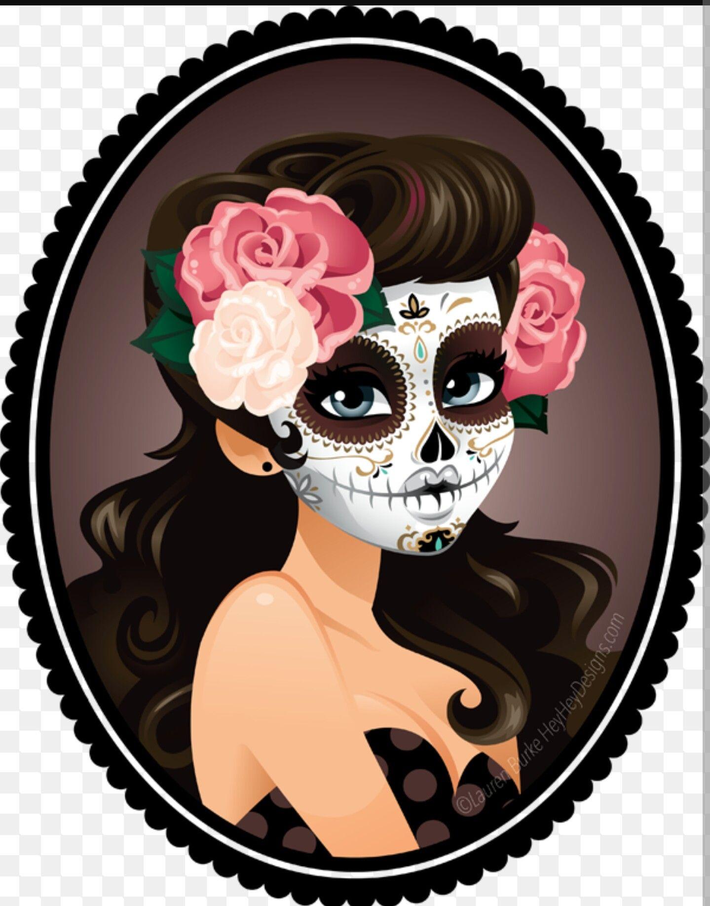 Dia de los muertos girly skull clipart svg royalty free Pin by Rhonda Farley-Hendrix on Sugar Skulls | Sugar skull girl, Day ... svg royalty free