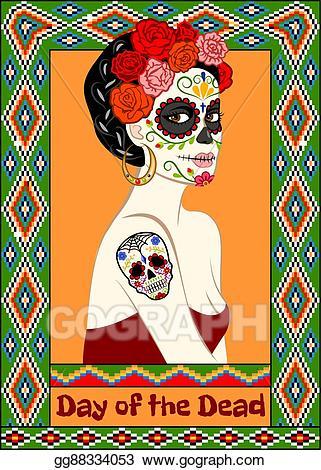 Dia de los muertos girly skull clipart vector free library Clip Art Vector - Dia de los muertos card. Stock EPS gg88334053 ... vector free library