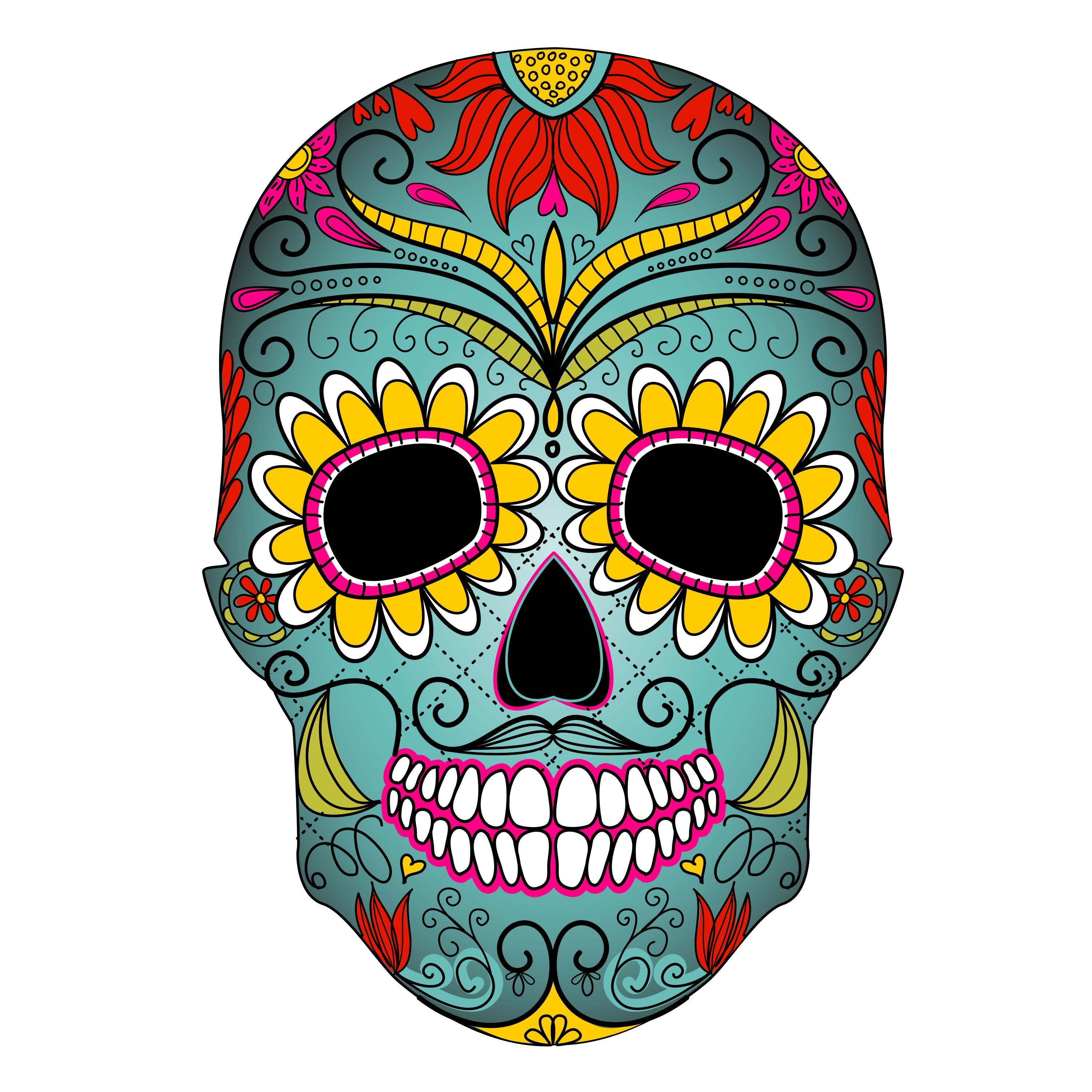 Dia de los muertos marigold skull clipart vector library Day Of The Dead Clipart - Clipart Kid | Day of the Dead - Crafting ... vector library