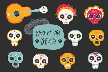 Dia de los muertos marigold skull clipart clip art freeuse library Vector hand drawn illustrations of Mexican holiday \