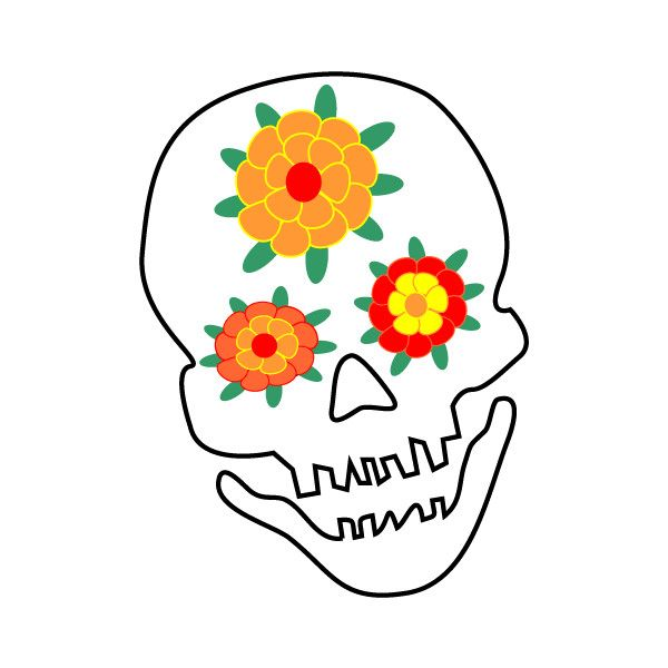 Dia de los muertos marigold skull clipart clipart freeuse stock Skull with Flowers Clip Art-Dia de los Muertos Day of the Dead ... clipart freeuse stock