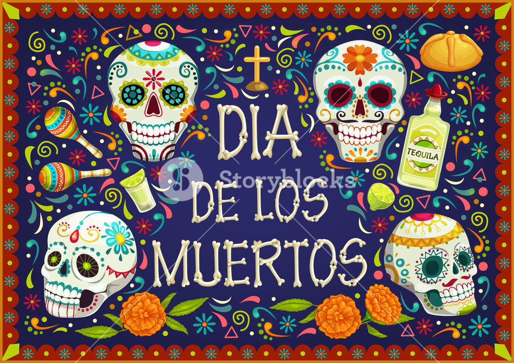 Dia de los muertos marigold skull clipart banner freeuse Mexican holiday flowers, Dia de los muertos skulls Royalty-Free ... banner freeuse