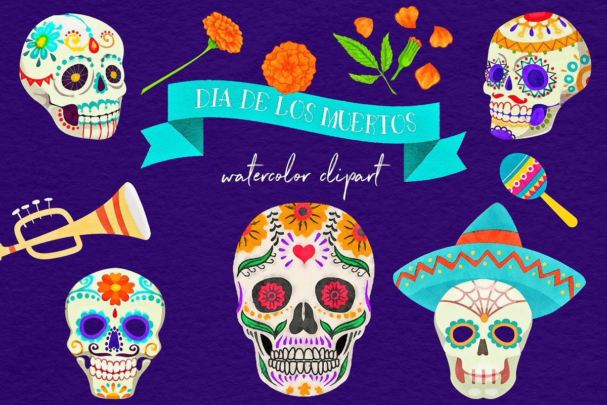 Dia de los muertos skull clipart clip free library Dia De Los Muertos Clipart clip free library