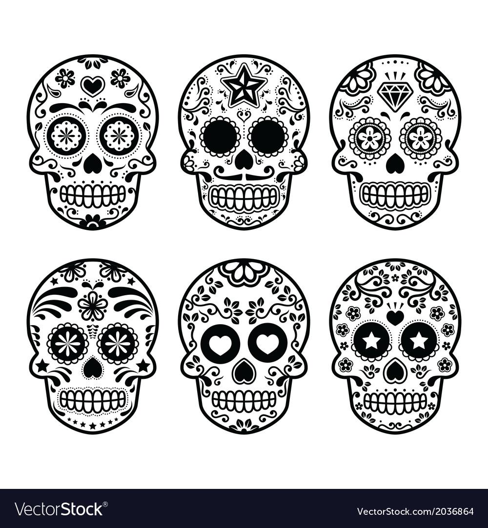 Dia de los muertos skull clipart banner royalty free stock Mexican sugar skull Dia de los Muertos icons set banner royalty free stock