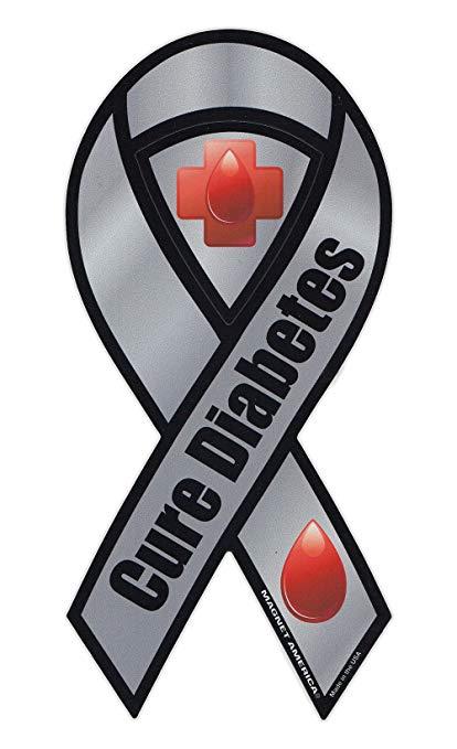 Diabetes ribbon clipart jpg library Magnetic Bumper Sticker - Diabetes Awareness - Ribbon Shaped Support Magnet  - 4\