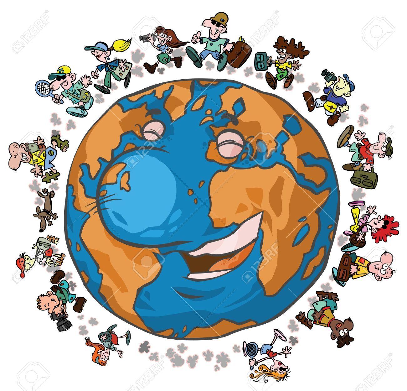Die erde clipart clip art freeuse Cartoon Erde Mit Globe-Trotters Lizenzfrei Nutzbare Vektorgrafiken ... clip art freeuse
