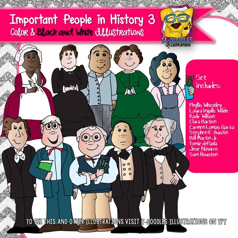 Different people from history images on clipart picture royalty free library Important Historical People 3 Commercial Use Clipart | TpT Misc ... picture royalty free library