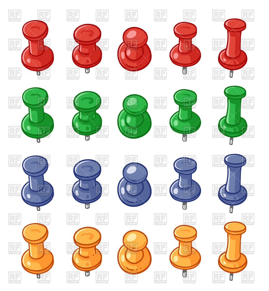 Different sizes clipart. Set of colorful push