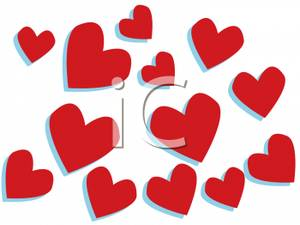 Different sizes clipart. Assortment of red hearts