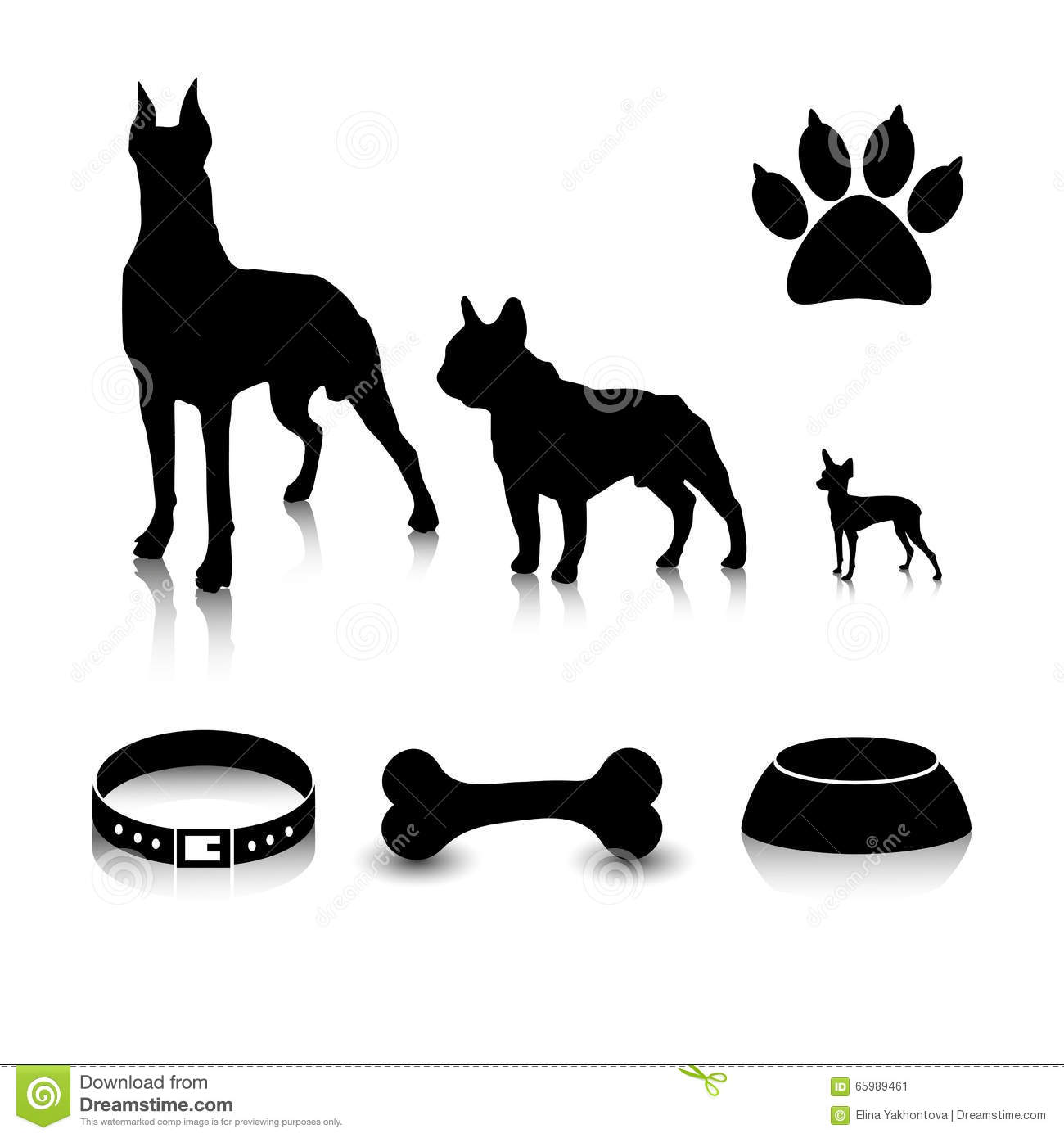 Vector set of silhouettes. Different sizes clipart