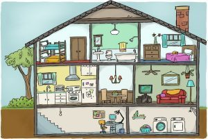 Different types of rooms in a house clipart