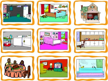 Different types of rooms in a house clipart jpg free Rooms in a House Flashcards - ESL Flashcards jpg free