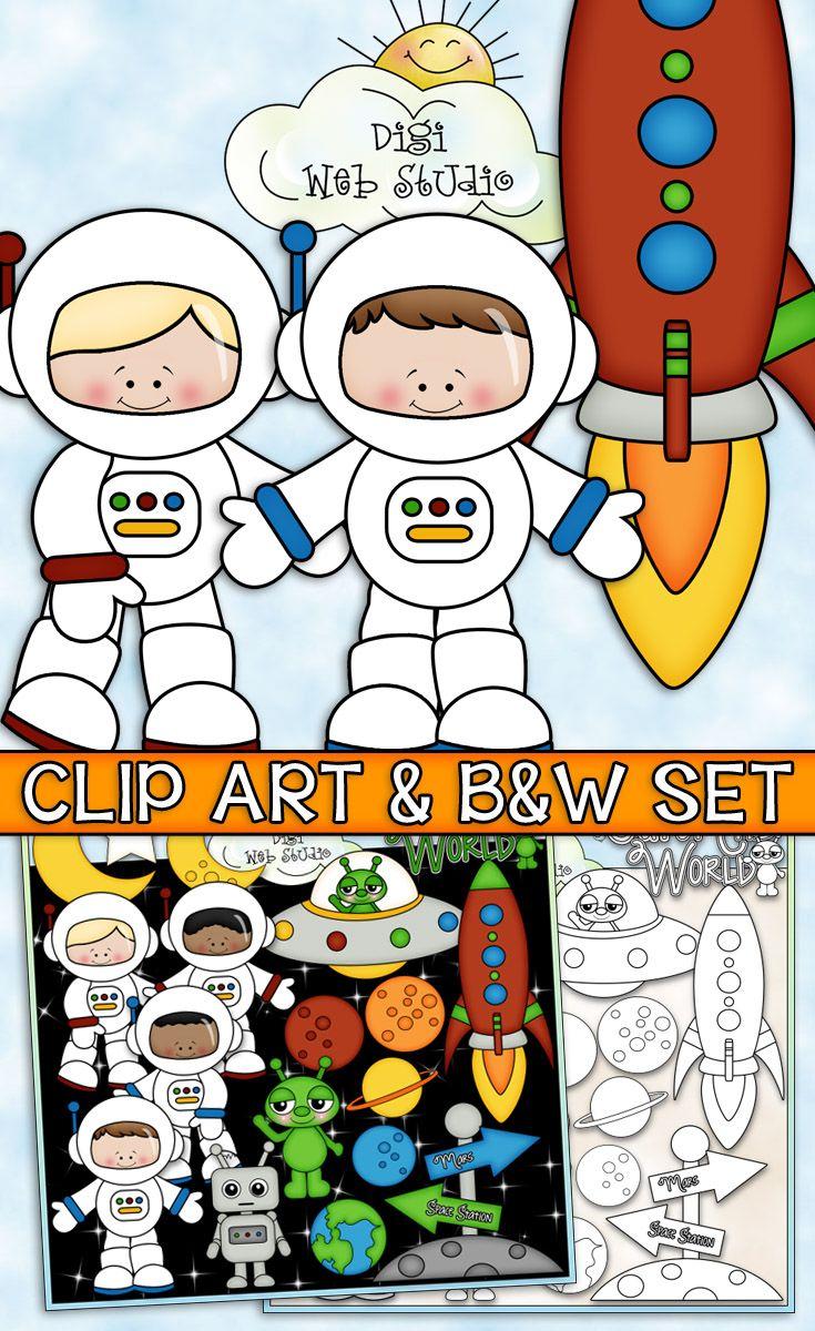 Digistudio clipart jpg royalty free stock When I Grow Up: Astronaut - CU Clip Art & B&W Set | TpT Clip Art for ... jpg royalty free stock