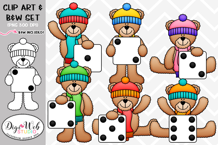 Digistudio clipart clip free library Clip Art / Illustrations - Winter Dice Teddy Bears clip free library