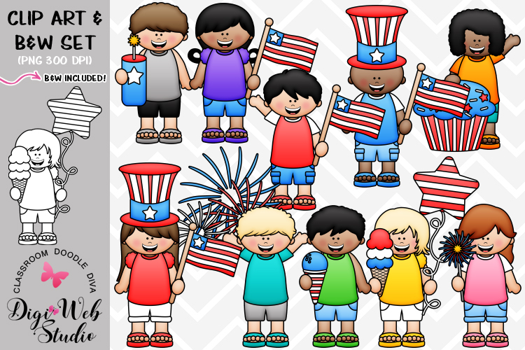 Digistudio clipart transparent Clip Art Illustrations - Big Grin July 4 Kids transparent