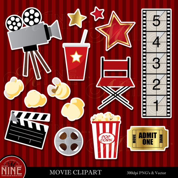 Movie theme clipart clip black and white library MOVIE THEME Clip Art / Movie Theme Sticker Clipart Downloads / Movie ... clip black and white library