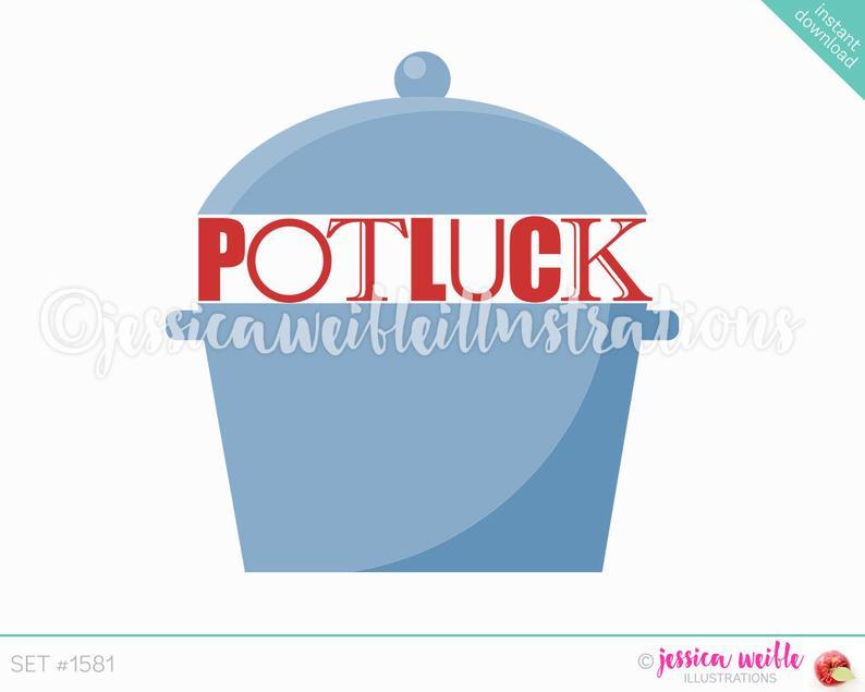 Digital clipart etsy svg library stock Potluck Crockpot Clip Art Cute Digital Clipart Etsy Cool Pot Luck ... svg library stock