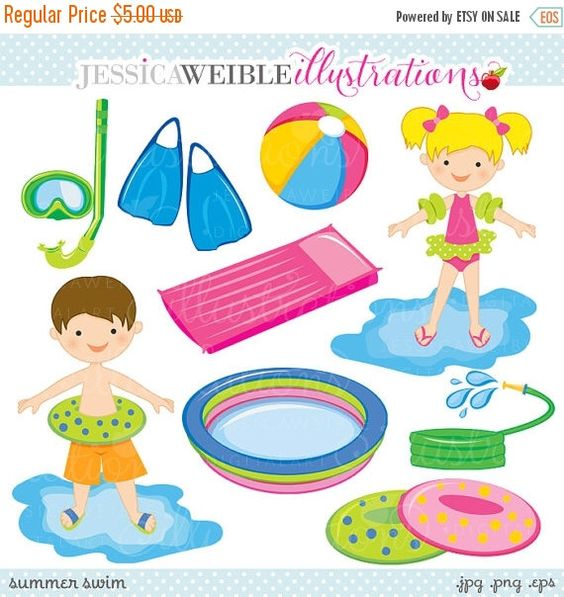 Digital clipart for commercial use clip art download Summer Swim Cute Digital Clipart - Commercial Use OK - Swimming ... clip art download