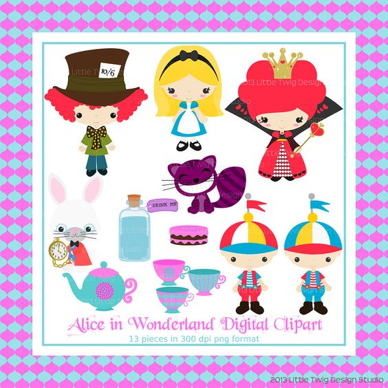 Digital clipart for commercial use vector library Alice in Wonderland Series 2 Digital clip Art Clipart Collection ... vector library
