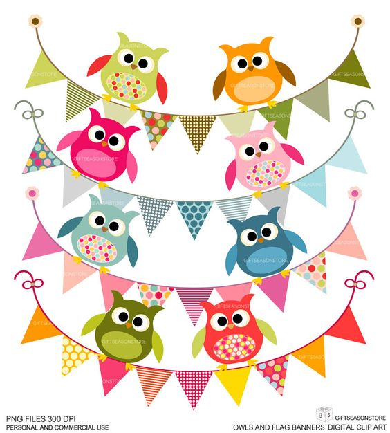 Digital clipart for commercial use picture free Owls and flag banners Digital clip art for Personal and Commercial ... picture free