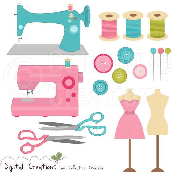 Digital clipart for commercial use svg library library Sewing Digital Clip Art Clipart Set - Personal and Commercial Use ... svg library library