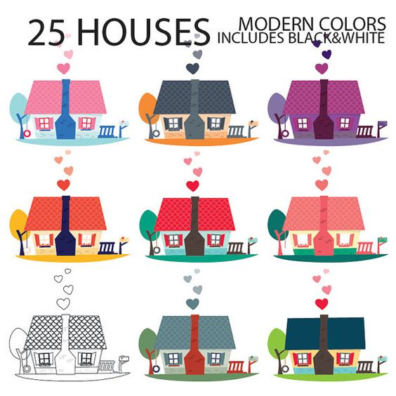 Digital clipart for commercial use clip art royalty free House Digital Clipart, INSTANT DOWNLOAD, digital graphics cute ... clip art royalty free