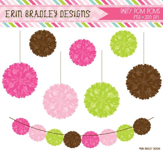 Digital clipart for commercial use clip royalty free library Preppy Pom Pom Garland Clipart Commercial Use Digital Clip Art ... clip royalty free library