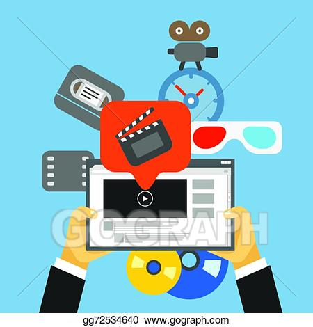Digital media clipart vector freeuse stock EPS Illustration - Digital media industry. flat design concept ... vector freeuse stock