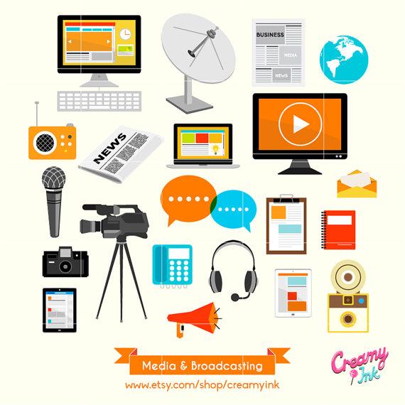 Digital media clipart banner download Media Broadcasting Digital Vector Clip art / Social Media Clipart ... banner download