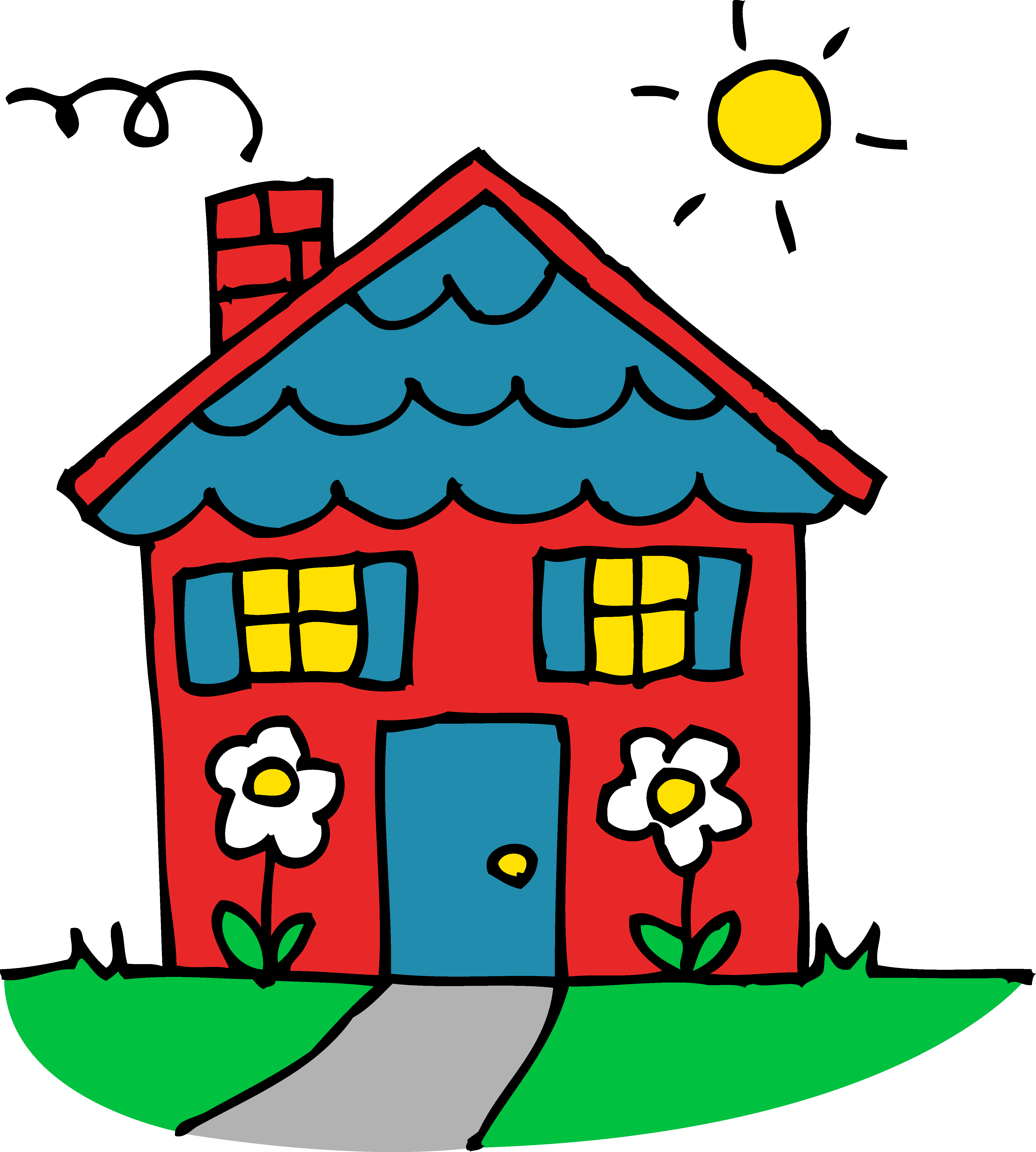 Dilapidated house clipart graphic black and white Drawing red house with a blue roof free image graphic black and white