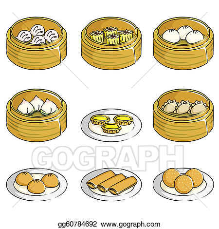 Dimsum clipart clipart transparent library Vector Art - Chinese dim sum icons. Clipart Drawing ... clipart transparent library