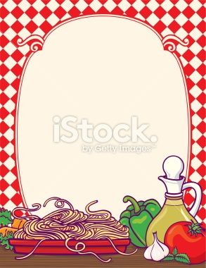 Spaghetti clipart borders vector freeuse Italian food border with lots of healthy vegetables | Family ... vector freeuse