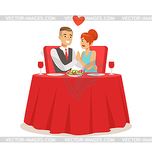 Dinner date clipart vector royalty free download Happy elegant couple enjoying romantic dinner date - color ... vector royalty free download