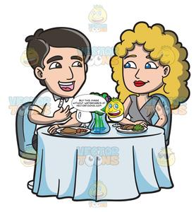 Dinner date clipart banner free stock A Couple Enjoying A Dinner Date banner free stock
