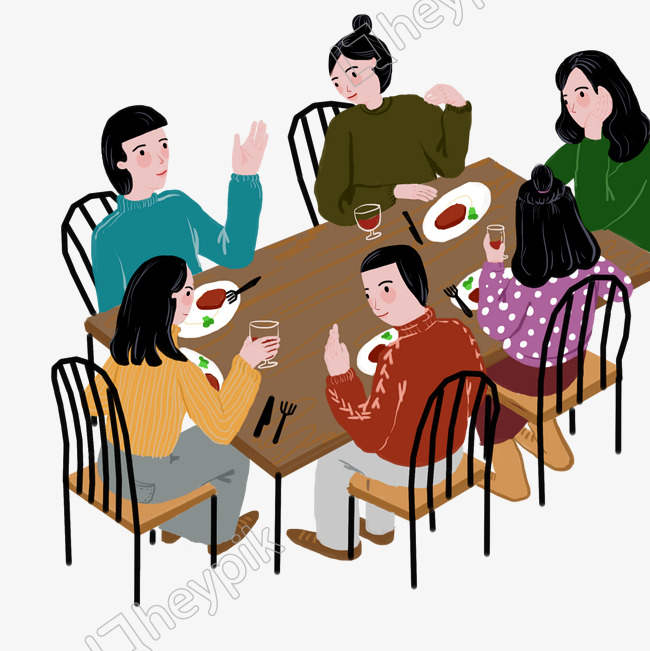 Dinner with friends clipart black and white library Download Free png Dinner scene friends dinner food image PNG Clip ... black and white library