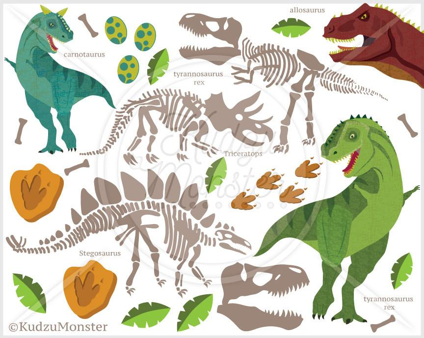 Dinosaur fossil clipart black and white Dinosaur Fossil Clip Art Graphics black and white