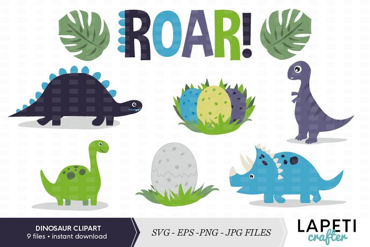 Frdinosaur clipart graphic library download Dinosaur clipart set, SVG, PNG JPG EPS files graphic library download