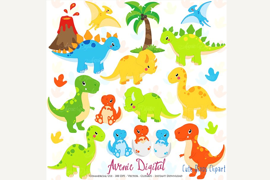 Dinsosaur clipart svg royalty free library Cute Dinosaur Clipart + Vectors svg royalty free library