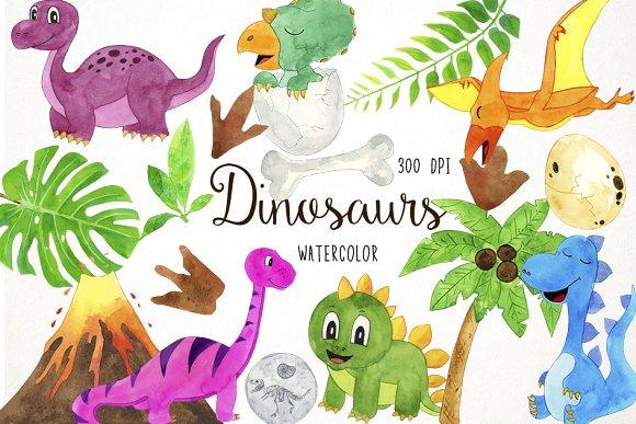 Dinosuars clipart vector transparent Watercolor Dinosaurs Clipart vector transparent