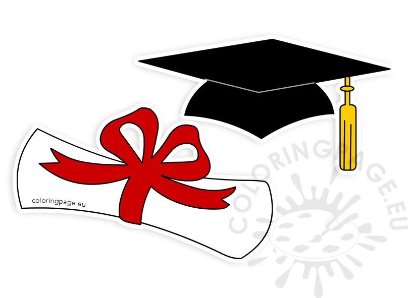 Diploa clipart jpg royalty free download Graduation hat rolled diploma clipart – Coloring Page jpg royalty free download