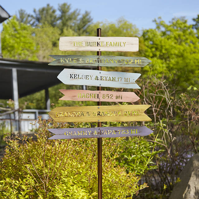 Directional signposts to places kids reading clipart jpg free Personalized Family Member Signpost | Garden Art | UncommonGoods jpg free