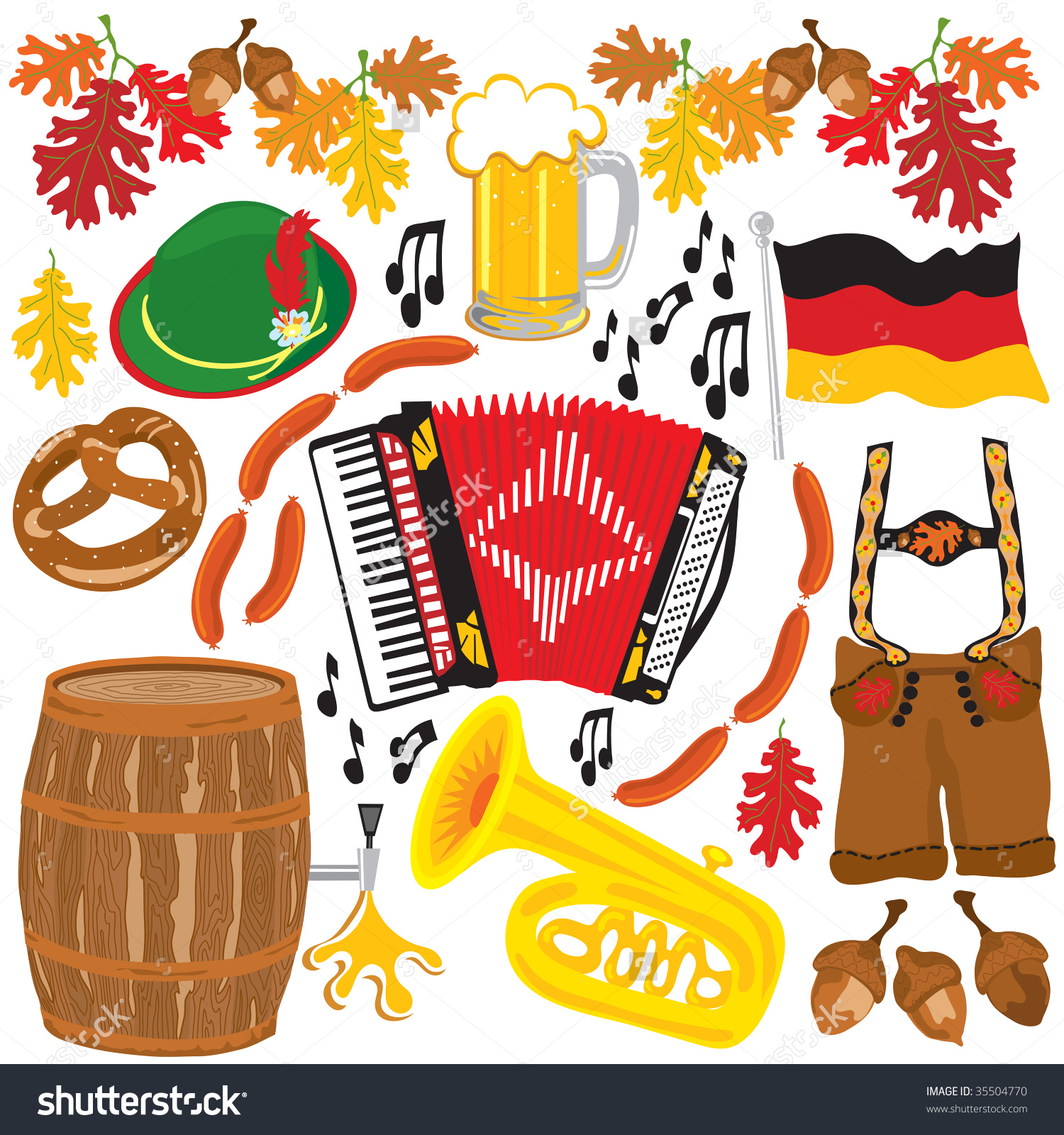 Dirndl und lederhose clipart banner library stock Oktoberfest Party Clipart Elements Isolated On White Stock Vector ... banner library stock